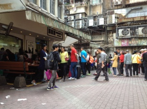 Outside Margeret's cafe in Macau