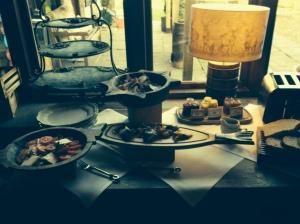 A classy breakfast buffet table