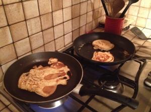 Pancake batter cooking